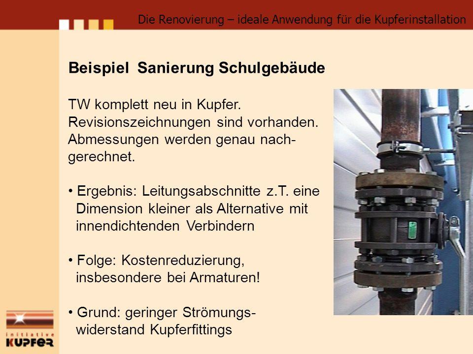 Beispiel Sanierung Schulgebäude TW komplett neu in Kupfer. Revisionszeichnungen sind vorhanden. Abmessungen werden genau nach- gerechnet. Ergebnis: Le