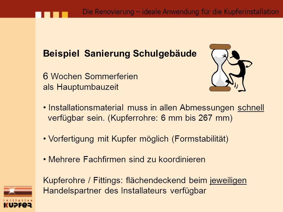Beispiel Sanierung Schulgebäude 6 Wochen Sommerferien als Hauptumbauzeit Installationsmaterial muss in allen Abmessungen schnell verfügbar sein. (Kupf
