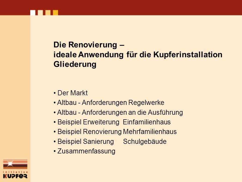 Die Renovierung – ideale Anwendung für die Kupferinstallation Gliederung Der Markt Altbau - Anforderungen Regelwerke Altbau - Anforderungen an die Aus