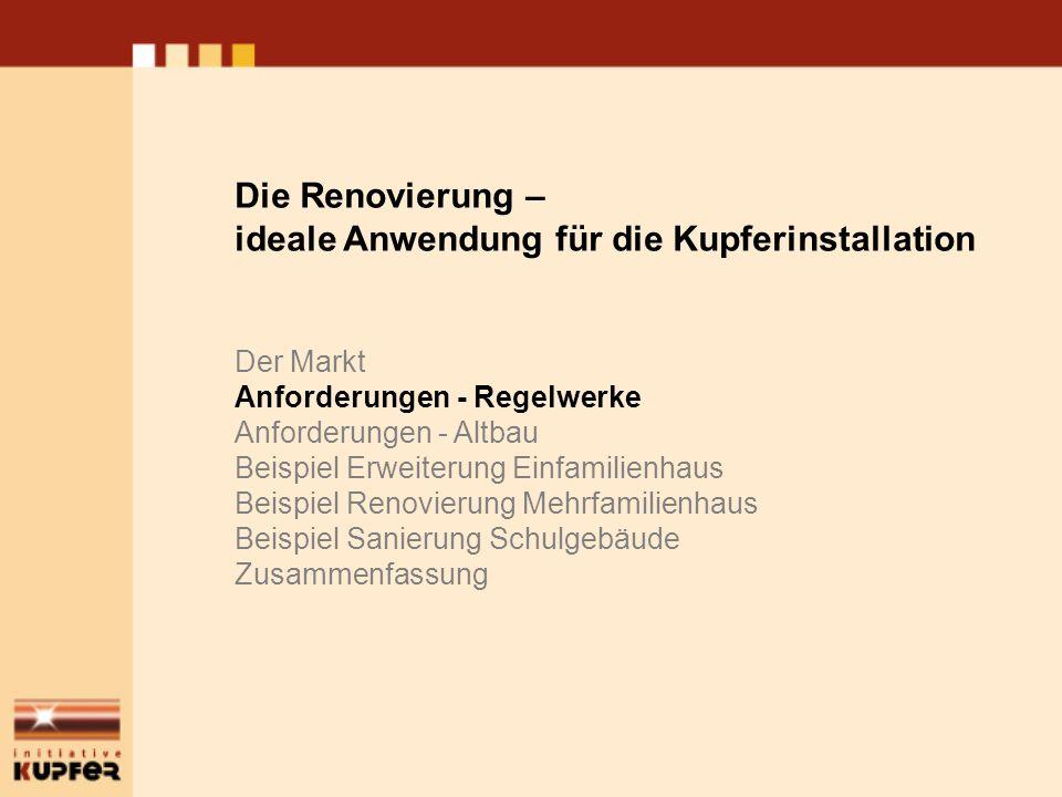Altbau – Anforderungen Regelwerke Besondere Bedeutung, da Fokus auf Gebäudebestand: Wärmeschutz - EnEV Die Renovierung – ideale Anwendung für die Kupferinstallation