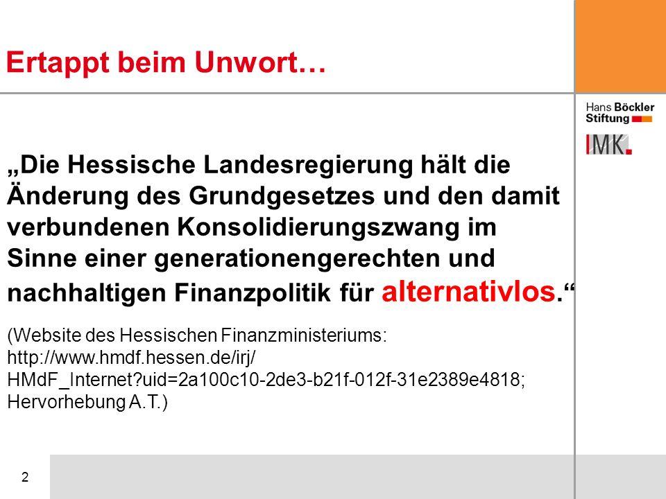 3 Grundsätzliche Probleme der Schuldenbremse Hohe Defizite und schlechte Finanzlage Hat Hessen über seine Verhältnisse gelebt.