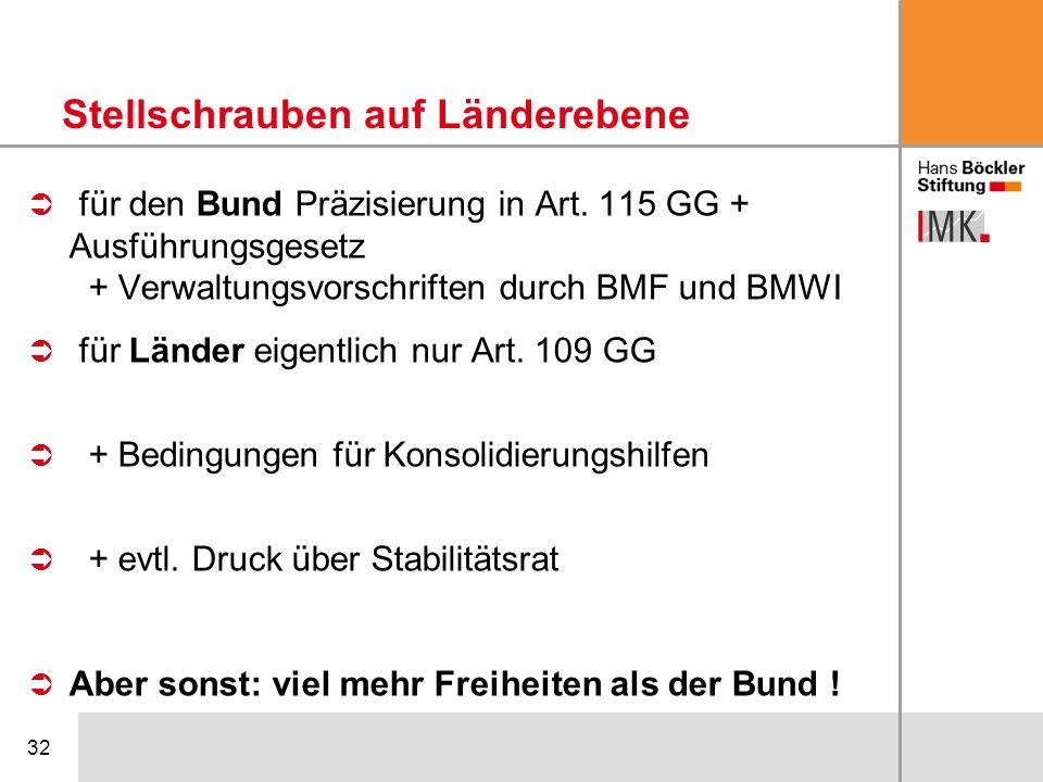 32 für den Bund Präzisierung in Art. 115 GG + Ausführungsgesetz + Verwaltungsvorschriften durch BMF und BMWI für Länder eigentlich nur Art. 109 GG + B