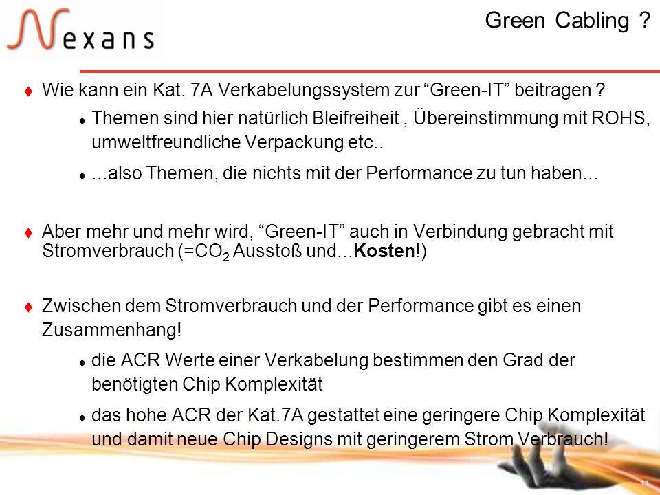 11 Green Cabling ? Wie kann ein Kat. 7A Verkabelungssystem zur Green-IT beitragen ? Themen sind hier natürlich Bleifreiheit, Übereinstimmung mit ROHS,