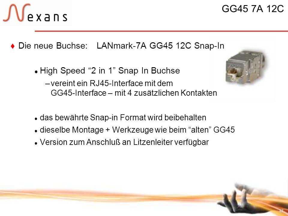 27 GG45 7A 12C Die neue Buchse: LANmark-7A GG45 12C Snap-In High Speed 2 in 1 Snap In Buchse –vereint ein RJ45-Interface mit dem GG45-Interface – mit