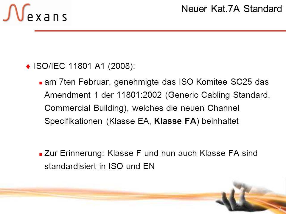 8 Neuer Kat.7A Standard ISO/IEC 11801 A1 (2008): am 7ten Februar, genehmigte das ISO Komitee SC25 das Amendment 1 der 11801:2002 (Generic Cabling Stan