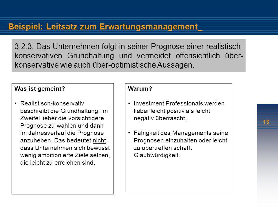 13 Beispiel: Leitsatz zum Erwartungsmanagement_ 3.2.3. Das Unternehmen folgt in seiner Prognose einer realistisch- konservativen Grundhaltung und verm