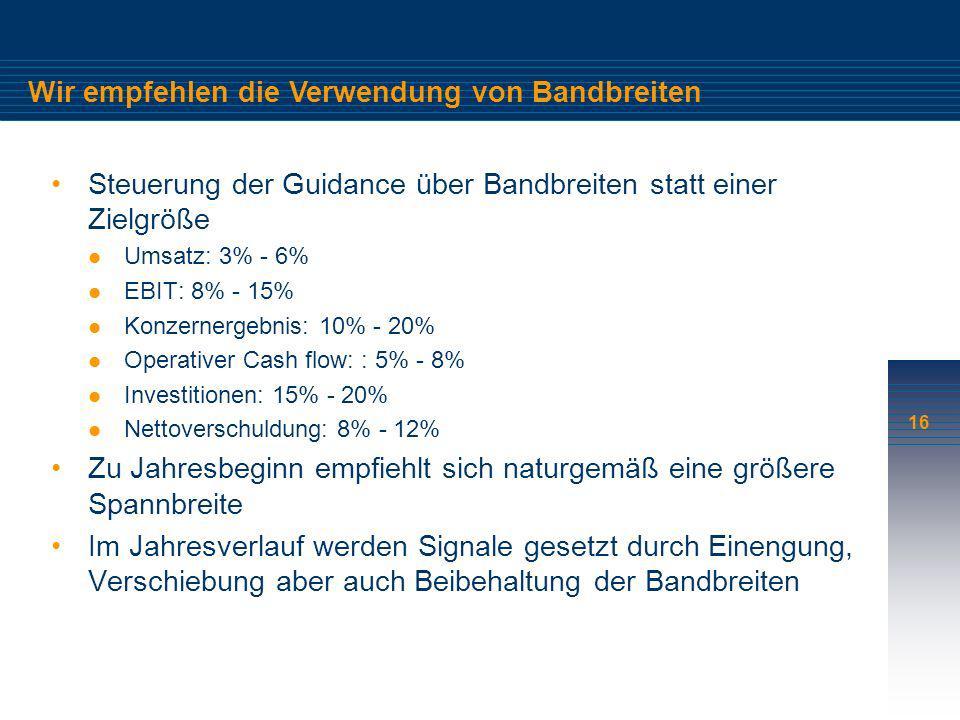 16 Wir empfehlen die Verwendung von Bandbreiten Steuerung der Guidance über Bandbreiten statt einer Zielgröße Umsatz: 3% - 6% EBIT: 8% - 15% Konzerner