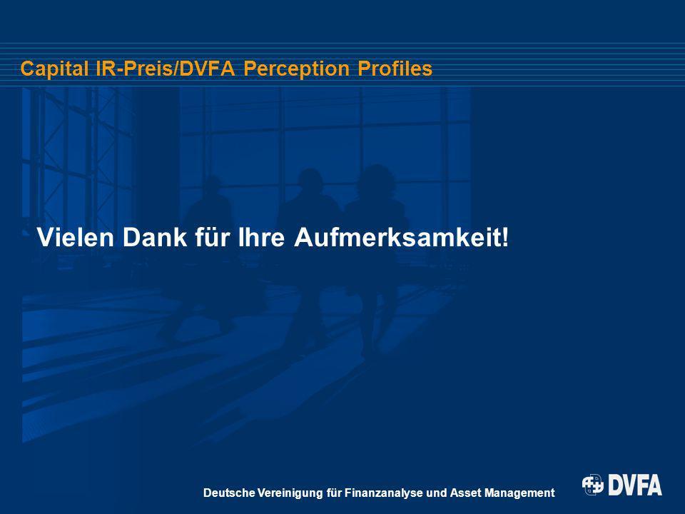 Deutsche Vereinigung für Finanzanalyse und Asset Management Capital IR-Preis/DVFA Perception Profiles Vielen Dank für Ihre Aufmerksamkeit!