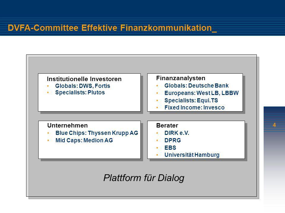4 DVFA-Committee Effektive Finanzkommunikation_ Finanzanalysten Globals: Deutsche Bank Europeans: West LB, LBBW Specialists: Equi.TS Fixed Income: Inv