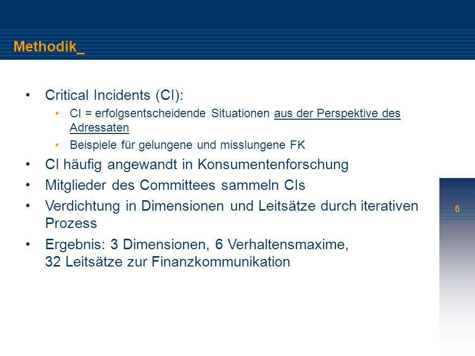 6 Methodik_ Critical Incidents (CI): CI = erfolgsentscheidende Situationen aus der Perspektive des Adressaten Beispiele für gelungene und misslungene