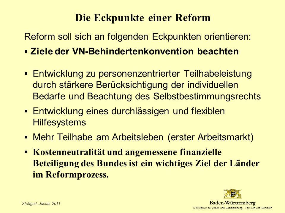 Ministerium für Arbeit und Sozialordnung, Familien und Senioren Die Eckpunkte einer Reform Reform soll sich an folgenden Eckpunkten orientieren: Ziele der VN-Behindertenkonvention beachten Entwicklung zu personenzentrierter Teilhabeleistung durch stärkere Berücksichtigung der individuellen Bedarfe und Beachtung des Selbstbestimmungsrechts Entwicklung eines durchlässigen und flexiblen Hilfesystems Mehr Teilhabe am Arbeitsleben (erster Arbeitsmarkt) Kostenneutralität und angemessene finanzielle Beteiligung des Bundes ist ein wichtiges Ziel der Länder im Reformprozess.