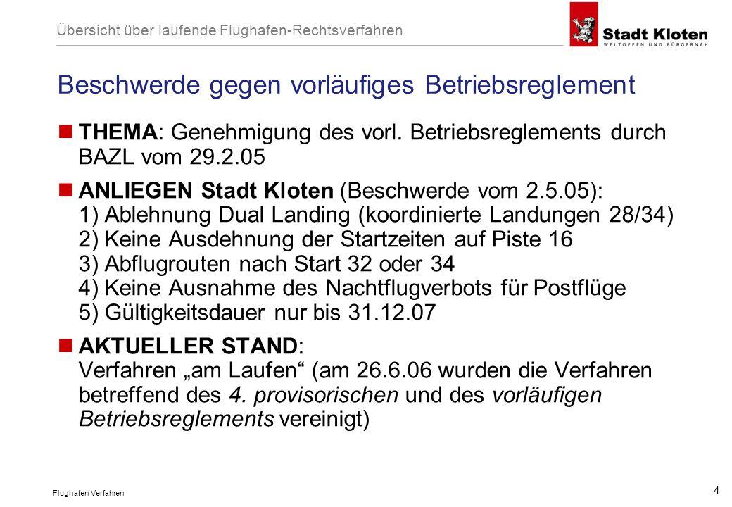 Flughafen-Verfahren 4 Beschwerde gegen vorläufiges Betriebsreglement THEMA: Genehmigung des vorl. Betriebsreglements durch BAZL vom 29.2.05 ANLIEGEN S