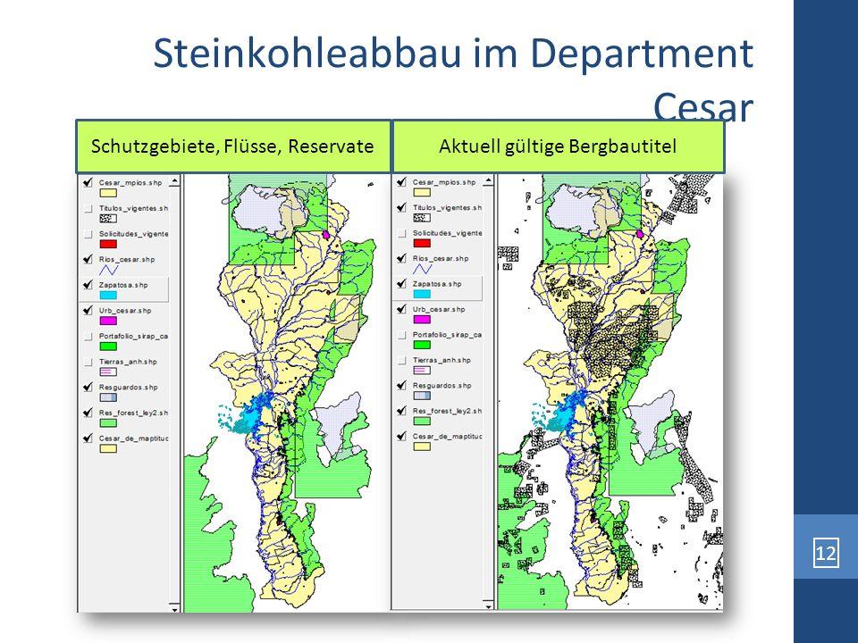 12 Steinkohleabbau im Department Cesar Schutzgebiete, Flüsse, ReservateAktuell gültige Bergbautitel