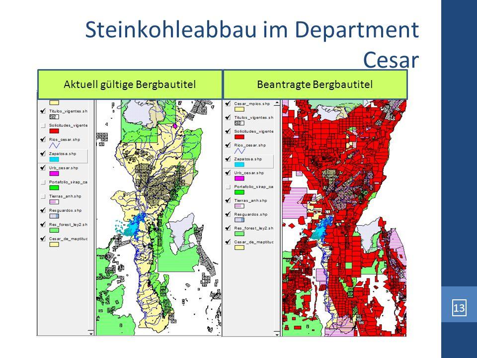 13 Steinkohleabbau im Department Cesar Beantragte BergbautitelAktuell gültige Bergbautitel