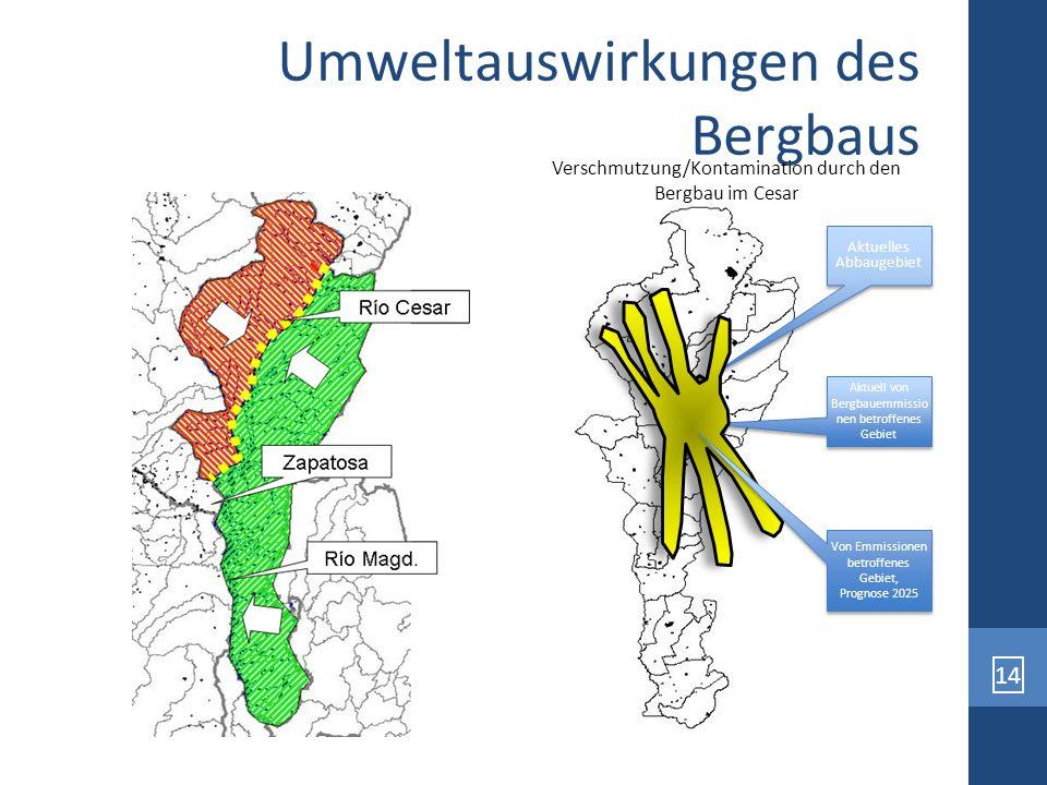 14 Umweltauswirkungen des Bergbaus Aktuelles Abbaugebiet Aktuell von Bergbauemmissio nen betroffenes Gebiet Von Emmissionen betroffenes Gebiet, Progno