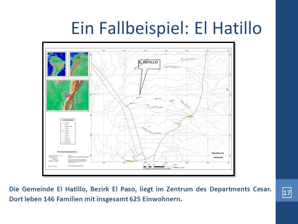 17 Ein Fallbeispiel: El Hatillo Die Gemeinde El Hatillo, Bezirk El Paso, liegt im Zentrum des Departments Cesar. Dort leben 146 Familien mit insgesamt