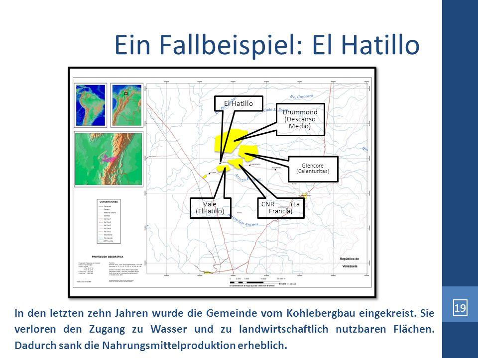 19 Ein Fallbeispiel: El Hatillo In den letzten zehn Jahren wurde die Gemeinde vom Kohlebergbau eingekreist. Sie verloren den Zugang zu Wasser und zu l