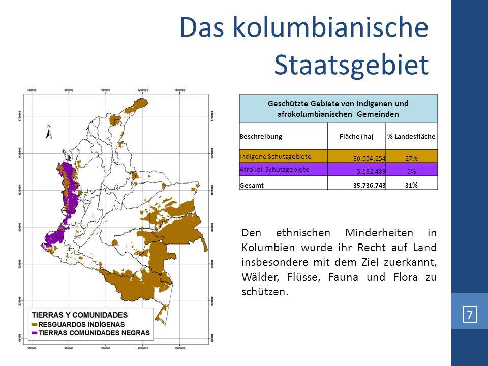7 Geschützte Gebiete von indigenen und afrokolumbianischen Gemeinden BeschreibungFläche (ha)% Landesfläche Indígene Schutzgebiete 30.554.25427% Afroko