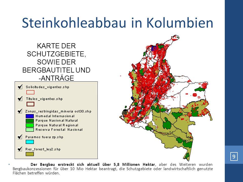 9 Der Bergbau erstreckt sich aktuell über 5,8 Millionen Hektar, aber des Weiteren wurden Bergbaukonzessionen für über 10 Mio Hektar beantragt, die Sch
