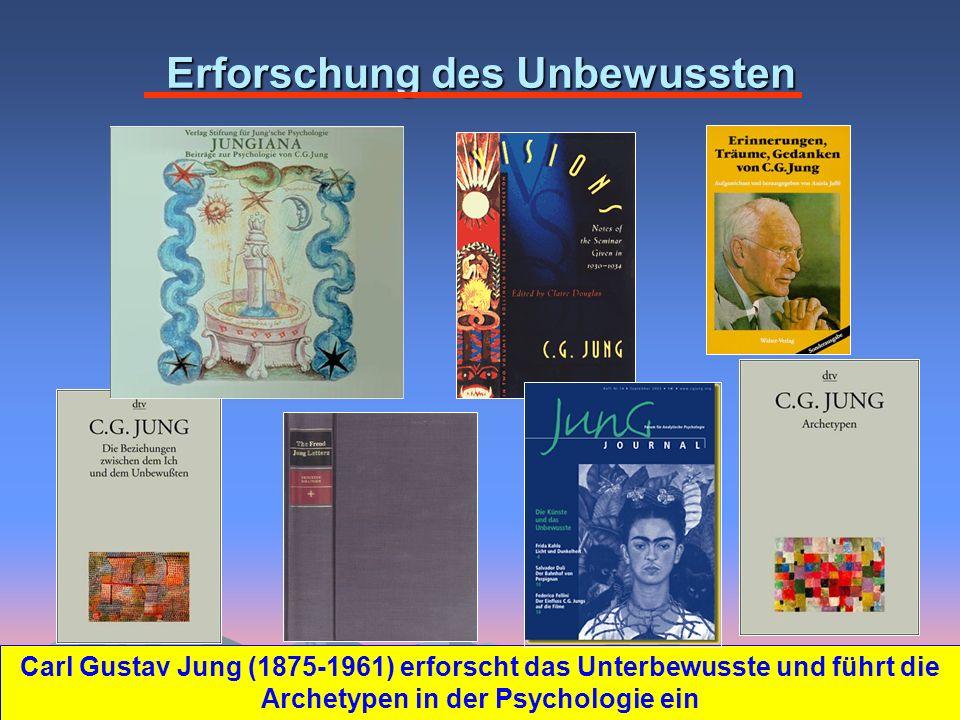Erforschung des Unbewussten Carl Gustav Jung (1875-1961) erforscht das Unterbewusste und führt die Archetypen in der Psychologie ein