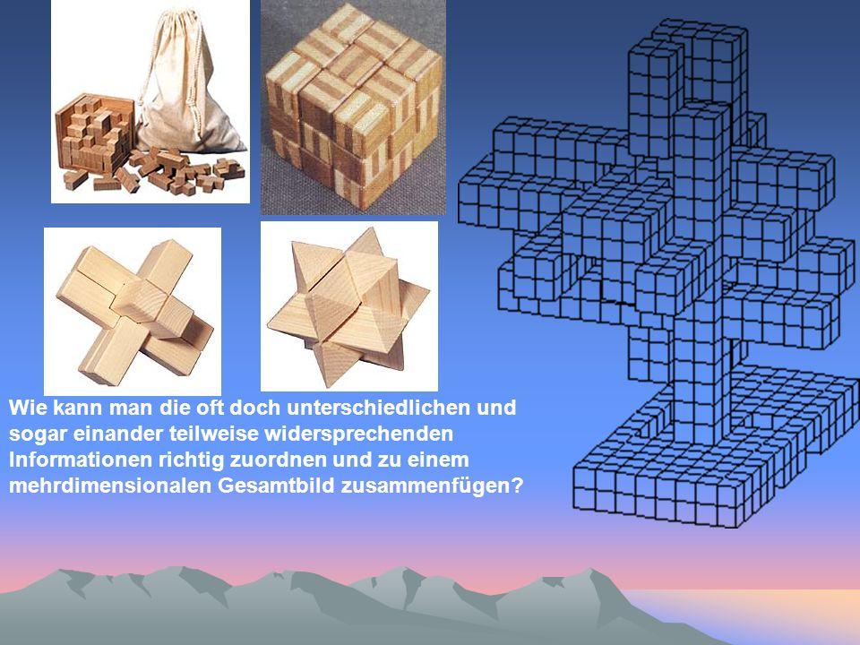 Wie kann man die oft doch unterschiedlichen und sogar einander teilweise widersprechenden Informationen richtig zuordnen und zu einem mehrdimensionalen Gesamtbild zusammenfügen?