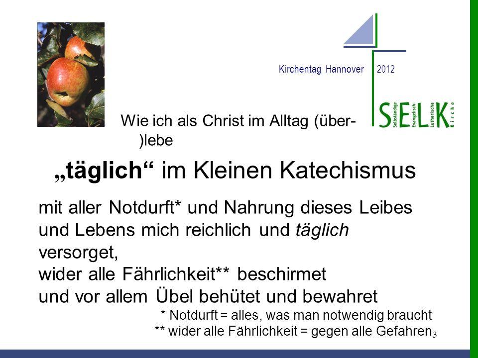 3 Kirchentag Hannover 2012 Wie ich als Christ im Alltag (über- )lebe täglich im Kleinen Katechismus mit aller Notdurft* und Nahrung dieses Leibes und