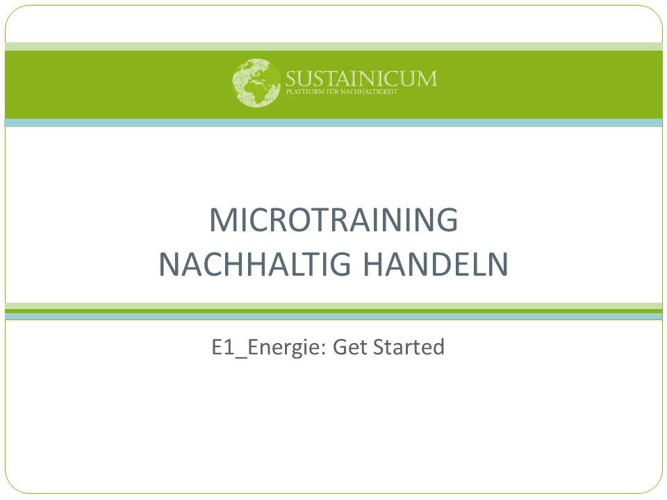 E1_Energie: Get Started MICROTRAINING NACHHALTIG HANDELN