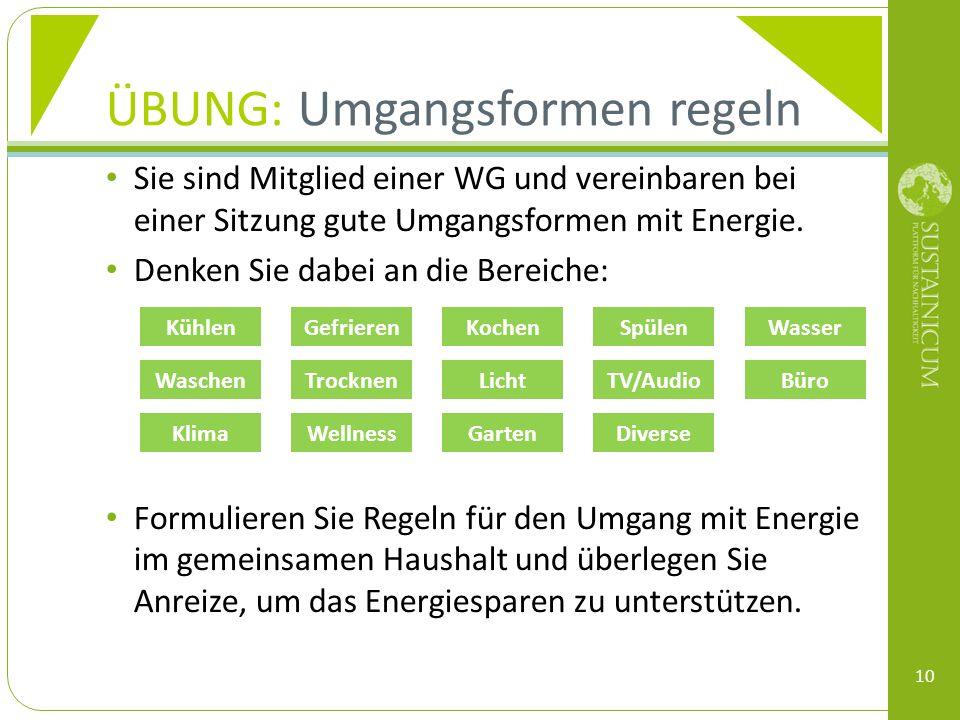 Sie sind Mitglied einer WG und vereinbaren bei einer Sitzung gute Umgangsformen mit Energie. Denken Sie dabei an die Bereiche: Formulieren Sie Regeln