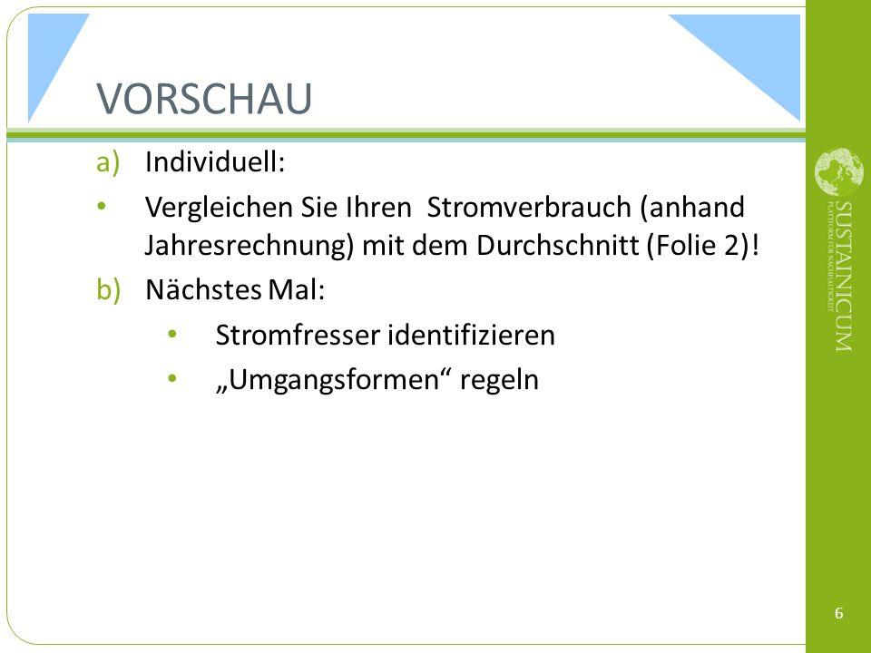 REFERENZEN & LINKS OÖ Energiesparverband (2012): Strom sparen leicht gemacht http://www.esv.or.at/info-service/publikationen/ Statistik Austria: Strom- und Gastagebuch 2008 Zukunftsfähiges Deutschland: Unterrichtsmaterial Zukunfts-WG, Modul 5- Energie http://www.brot-fuer-die-welt.de/themen/bewahrung-der- schoepfung/zukunftsfaehiges-deutschland/material/zukunftsfaehiges- deutschland-in-der-schule.html http://www.brot-fuer-die-welt.de/themen/bewahrung-der- schoepfung/zukunftsfaehiges-deutschland/material/zukunftsfaehiges- deutschland-in-der-schule.html 7
