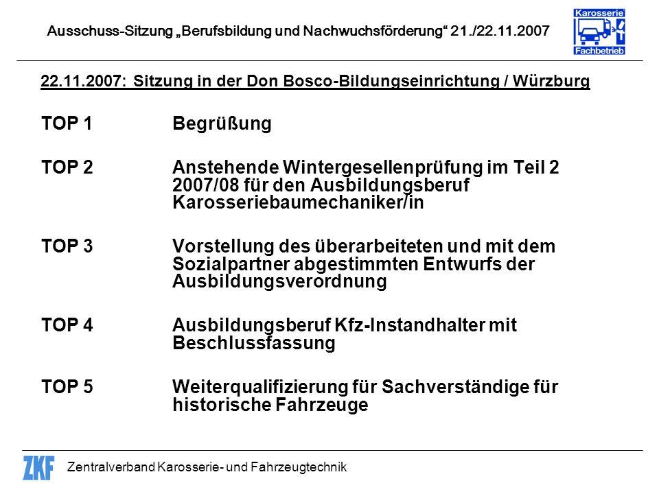 Zentralverband Karosserie- und Fahrzeugtechnik 22.11.2007: Sitzung in der Don Bosco-Bildungseinrichtung / Würzburg TOP 1Begrüßung TOP 2Anstehende Wint