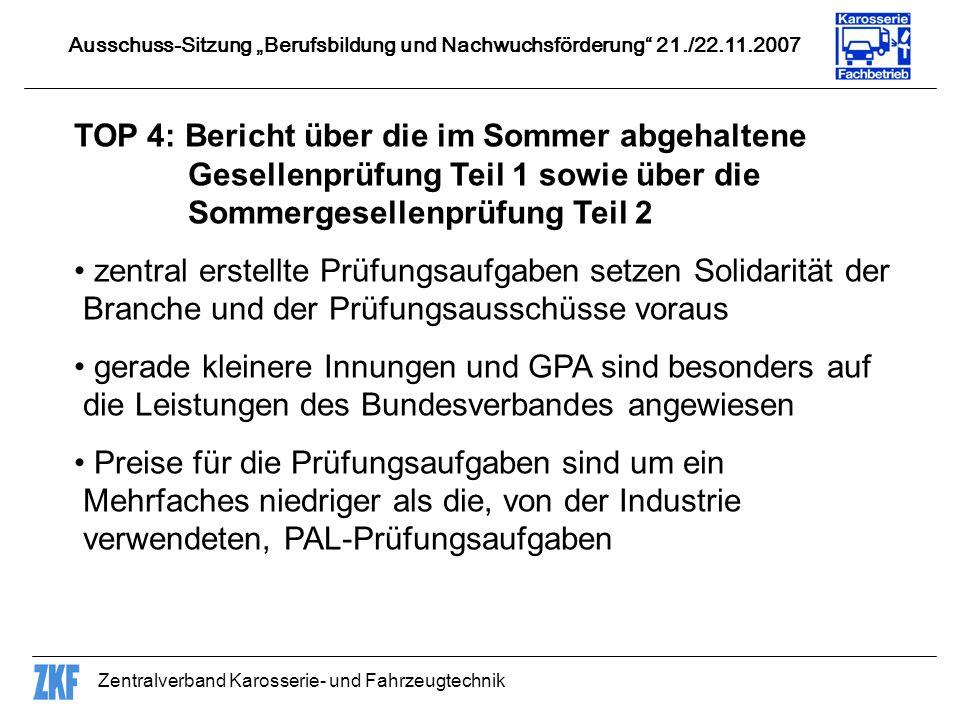 Zentralverband Karosserie- und Fahrzeugtechnik TOP 4: Bericht über die im Sommer abgehaltene Gesellenprüfung Teil 1 sowie über die Sommergesellenprüfu