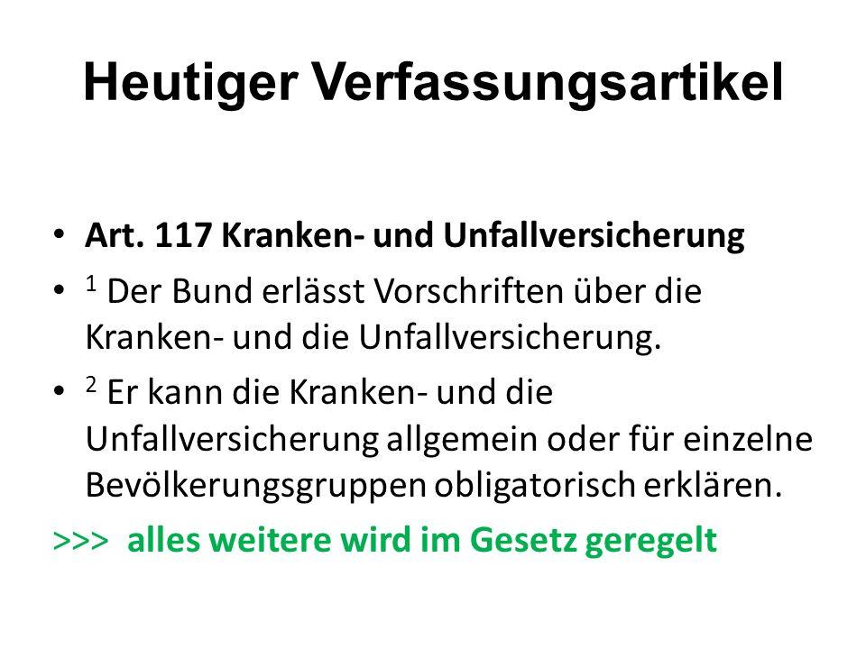 Heutiger Verfassungsartikel Art. 117 Kranken- und Unfallversicherung 1 Der Bund erlässt Vorschriften über die Kranken- und die Unfallversicherung. 2 E