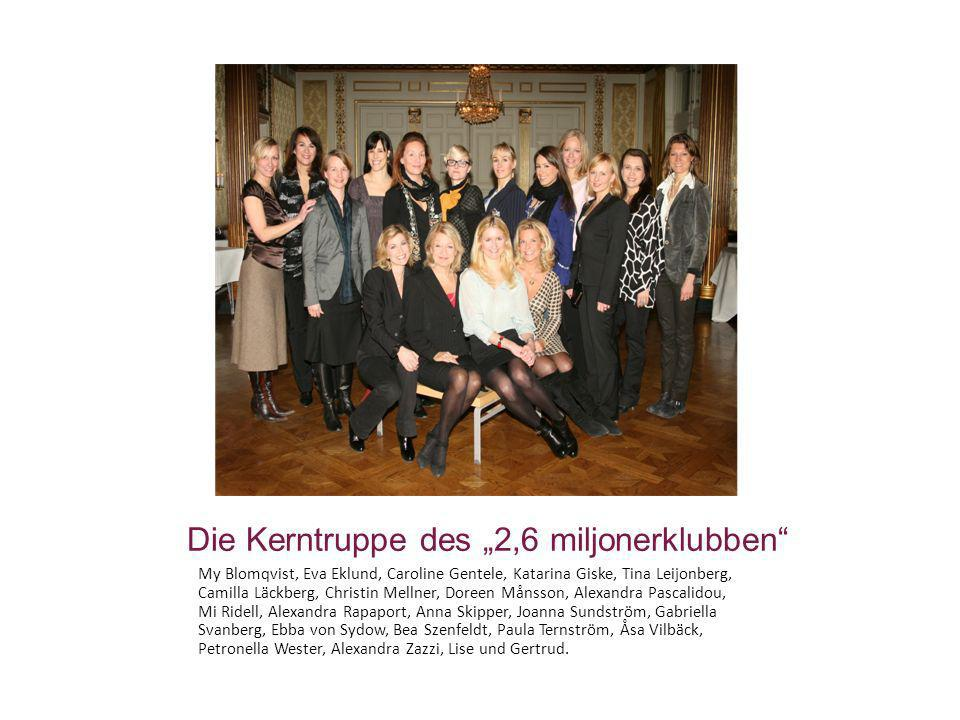 Die Kerntruppe des 2,6 miljonerklubben My Blomqvist, Eva Eklund, Caroline Gentele, Katarina Giske, Tina Leijonberg, Camilla Läckberg, Christin Mellner