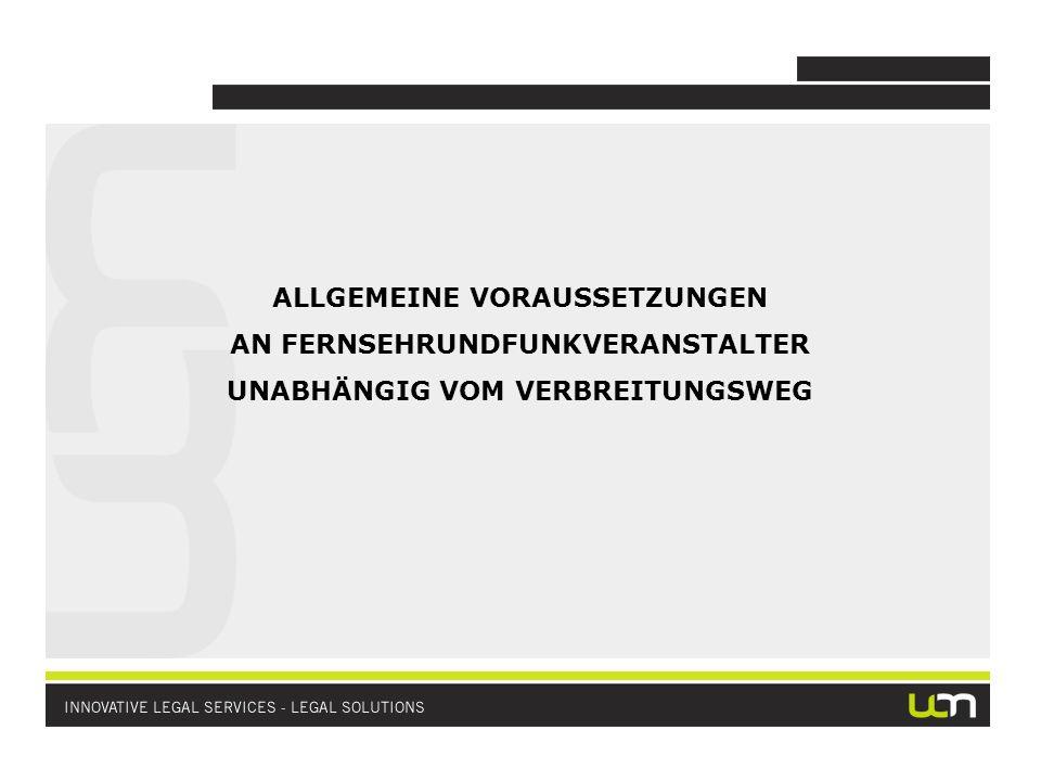 ANALOGE TERRESTRISCHE AUSSTRAHLUNG (bundesweit oder lokal): Für die Veranstaltung von analogem terrestrischen Fernsehen ist/war Zulassung durch Regulierungsbehörde (KommAustria) erforderlich Antrag auf Zulassung kann nach Ausschreibung der Übertragungskapazitäten durch Regulierungsbehörde eingebracht werden Notwendige Angaben und Nachweise im Antrag auf Zulassung zur Veranstaltung von analogem terrestrischen Fernsehen entsprechen Angaben im Antrag zur Zulassung von Satellitenrundfunk Aufgrund der Digitalisierung werden keine Zulassungen zur analogen terrestrischen Ausstrahlung mehr vergeben