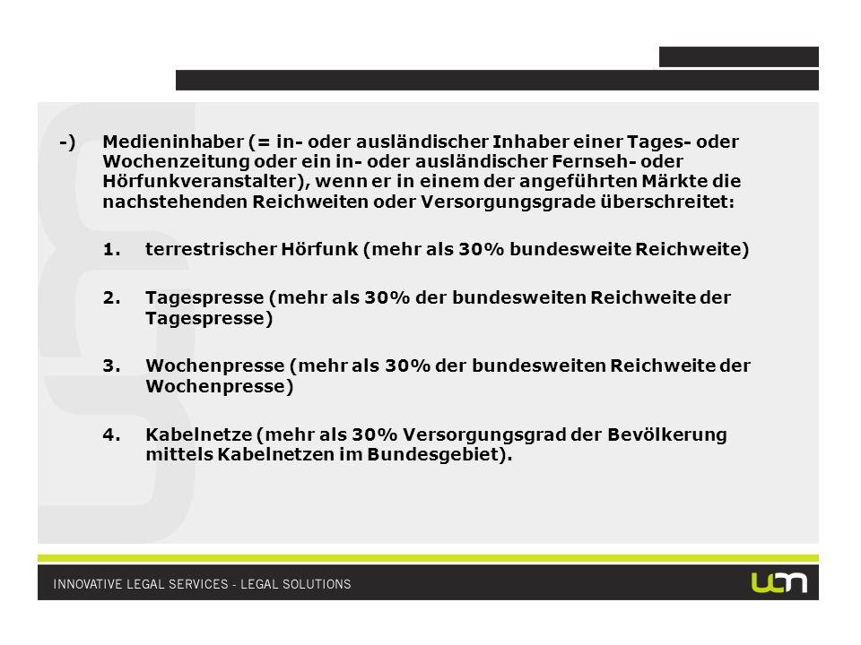 NIEDERLASSUNGSPRINZIP (§ 3 PrTV-G, Art 2 der Fernsehrichtlinie) Eine österreichische Zulassung nach dem PrTV-G benötigt, wer terrestrisches Fernsehen oder Satellitenrundfunk veranstaltet und in Österreich niedergelassen ist Als in Österreich niedergelassen ist, wer eines der folgenden Kriterien erfüllt: (i)Sitz in Österreich und redaktionelle Entscheidungen über Programmangebot werden in Österreich getroffen; oder (ii)Sitz in Österreich, redaktionellen Entscheidungen werden in einem anderen EWR-Staat getroffen und wesentlicher Teil des Sendepersonal ist in Österreich tätig (oder zum Teil in Österreich und zum Teil in diesen anderen EWR-Staat); oder (iii)Sitz in Österreich, redaktioneller Entscheidungen werden in einem anderen EWR-Staat getroffen (oder umgekehrt), wesentlicher Teil des Sendepersonals ist jedoch in einem dritten Staat tätig, der Sendebetrieb wurde erstmals in Österreich aufgenommen und der Betrieb des Rundfunkveranstalters kann eine dauerhafte und tatsächliche Verbindung mit der Wirtschaft in Österreich aufweisen oder