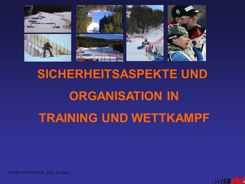 SICHERHEITSASPEKTE UND ORGANISATION IN TRAINING UND WETTKAMPF SCHNEESPORTFORUM 2004, A. Maina