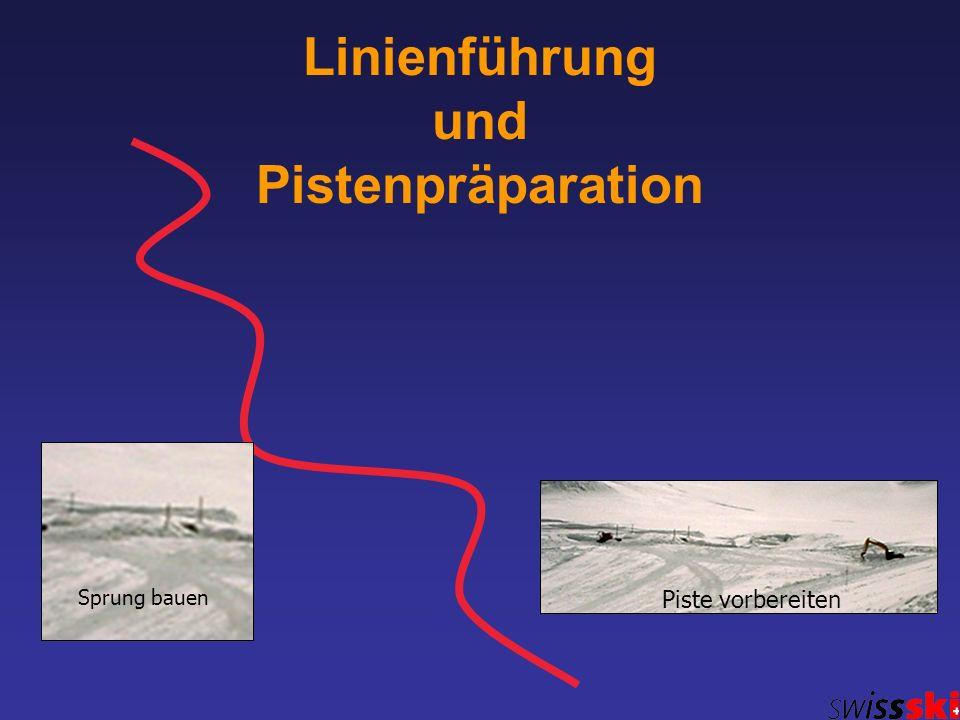 Linienführung und Pistenpräparation Sprung bauen Piste vorbereiten