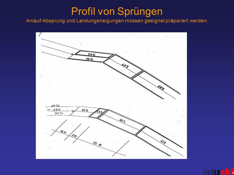 Profil von Sprüngen Anlauf-Absprung und Landungsneigungen müssen geeignet präpariert werden.