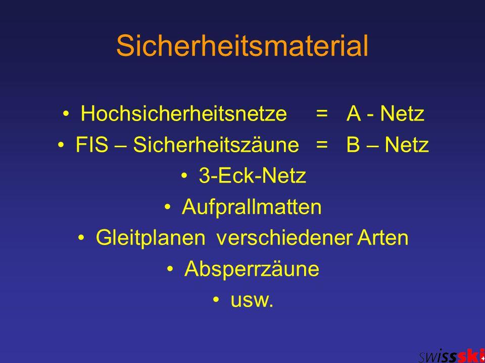 Sicherheitsmaterial Hochsicherheitsnetze = A - Netz FIS – Sicherheitszäune = B – Netz 3-Eck-Netz Aufprallmatten Gleitplanen verschiedener Arten Absper