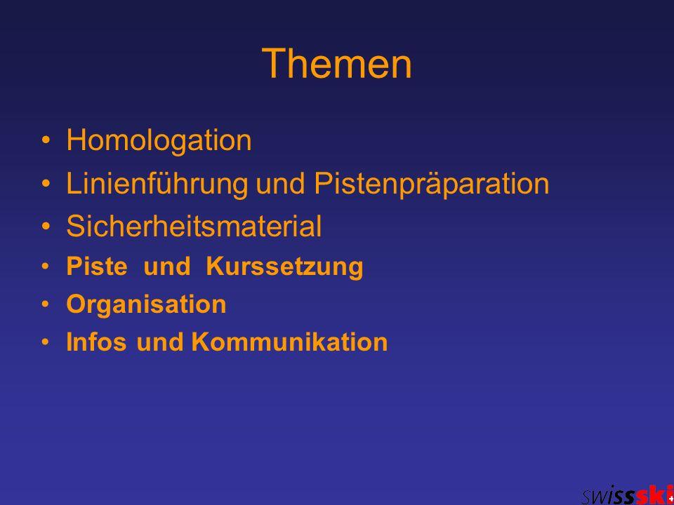 Themen Homologation Linienführung und Pistenpräparation Sicherheitsmaterial Piste und Kurssetzung Organisation Infos und Kommunikation