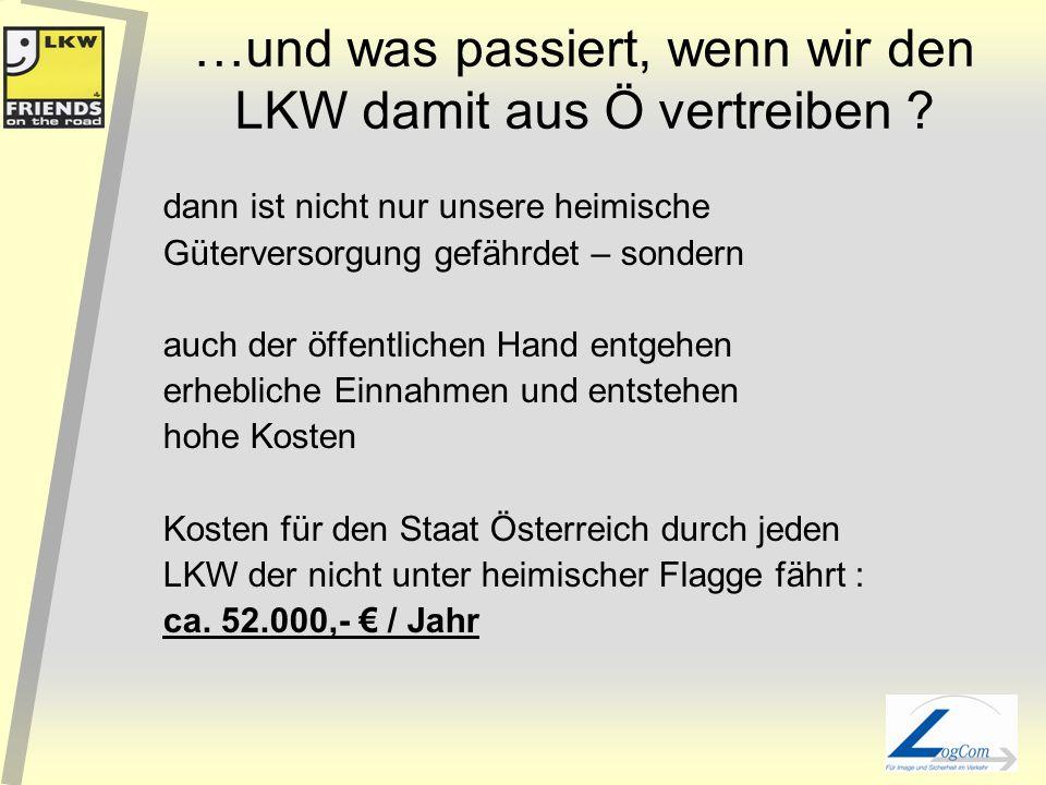 LKW-Abgabenlast: Detail: Annahme Durchschn.Verbr. 4-Achser Euro III 30l/100km 75.000 km p.a. *Quelle: EU-Kommission (Eurocent/km/4 Achser) EU-Mittelma