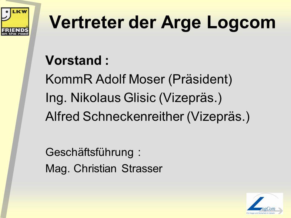 Vertreter der Arge Logcom Vorstand : KommR Adolf Moser (Präsident) Ing.