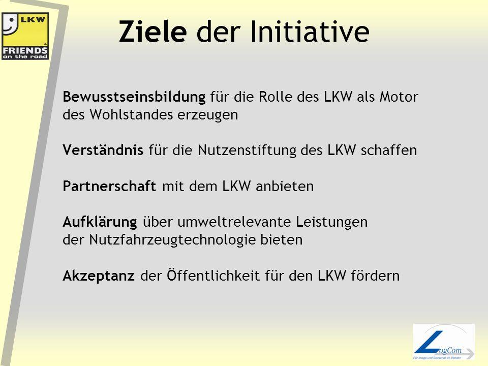 Ziele der Initiative Bewusstseinsbildung für die Rolle des LKW als Motor des Wohlstandes erzeugen Verständnis für die Nutzenstiftung des LKW schaffen Partnerschaft mit dem LKW anbieten Aufklärung über umweltrelevante Leistungen der Nutzfahrzeugtechnologie bieten Akzeptanz der Öffentlichkeit für den LKW fördern