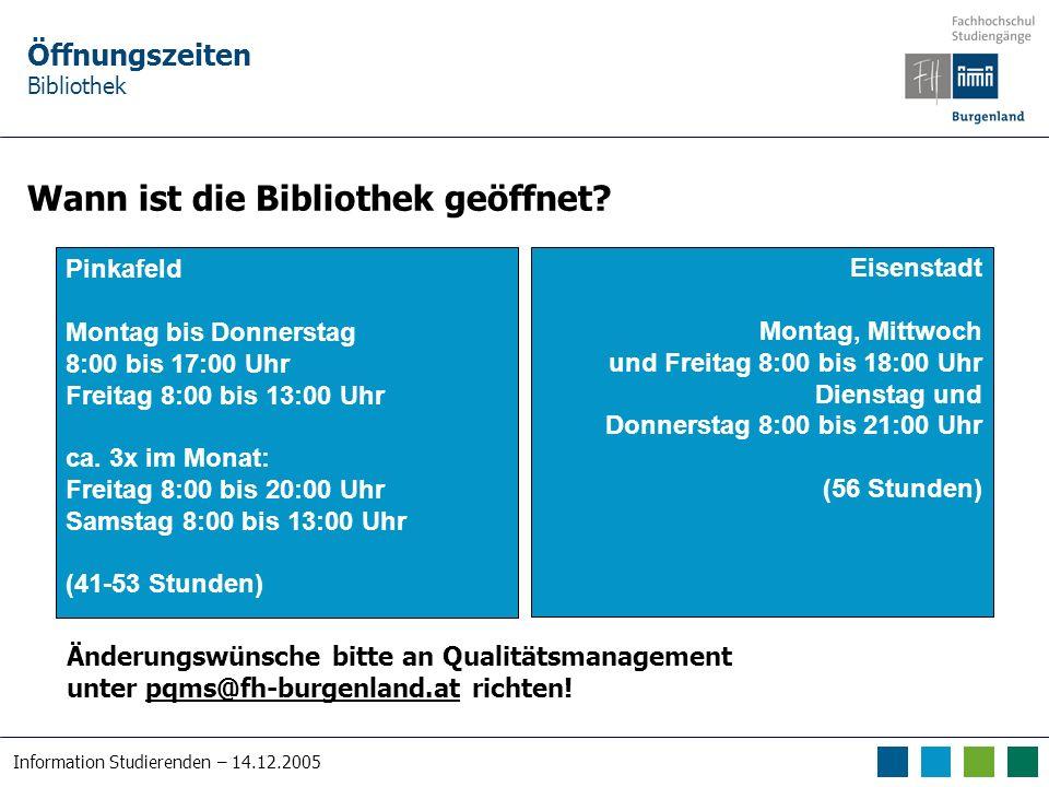 Information Studierenden – 14.12.2005 Kontakt/Ansprechpartner Bibliothek An wen soll/kann ich mich wenden ….