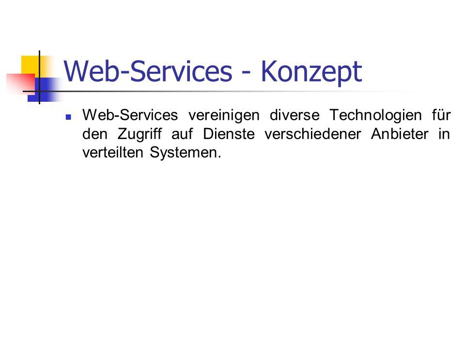 Web-Services - Konzept Web-Services vereinigen diverse Technologien für den Zugriff auf Dienste verschiedener Anbieter in verteilten Systemen.