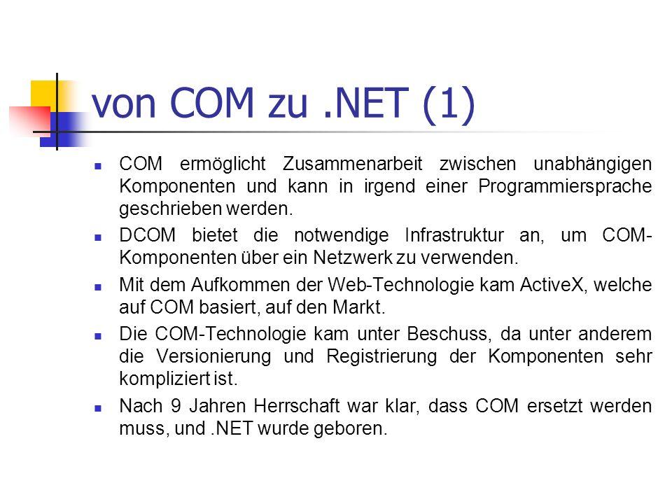 von COM zu.NET (1) COM ermöglicht Zusammenarbeit zwischen unabhängigen Komponenten und kann in irgend einer Programmiersprache geschrieben werden. DCO