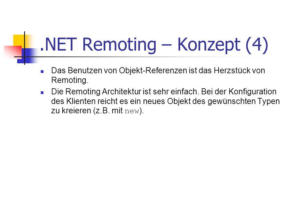 .NET Remoting – Konzept (4) Das Benutzen von Objekt-Referenzen ist das Herzstück von Remoting. Die Remoting Architektur ist sehr einfach. Bei der Konf