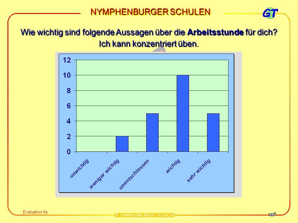 NYMPHENBURGER SCHULEN © NYMPHENBURGER SCHULEN Evaluation 6a Wie wichtig sind folgende Aussagen über die Arbeitsstunde für dich? Ich kann konzentriert