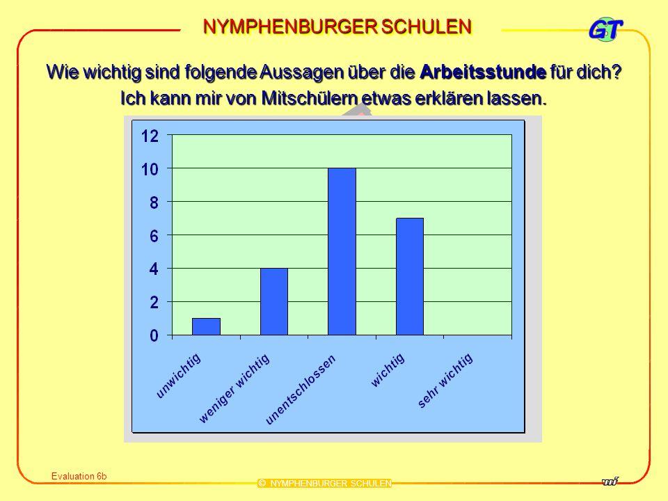NYMPHENBURGER SCHULEN © NYMPHENBURGER SCHULEN Evaluation 6c Wie wichtig sind folgende Aussagen über die Arbeitsstunde für dich.