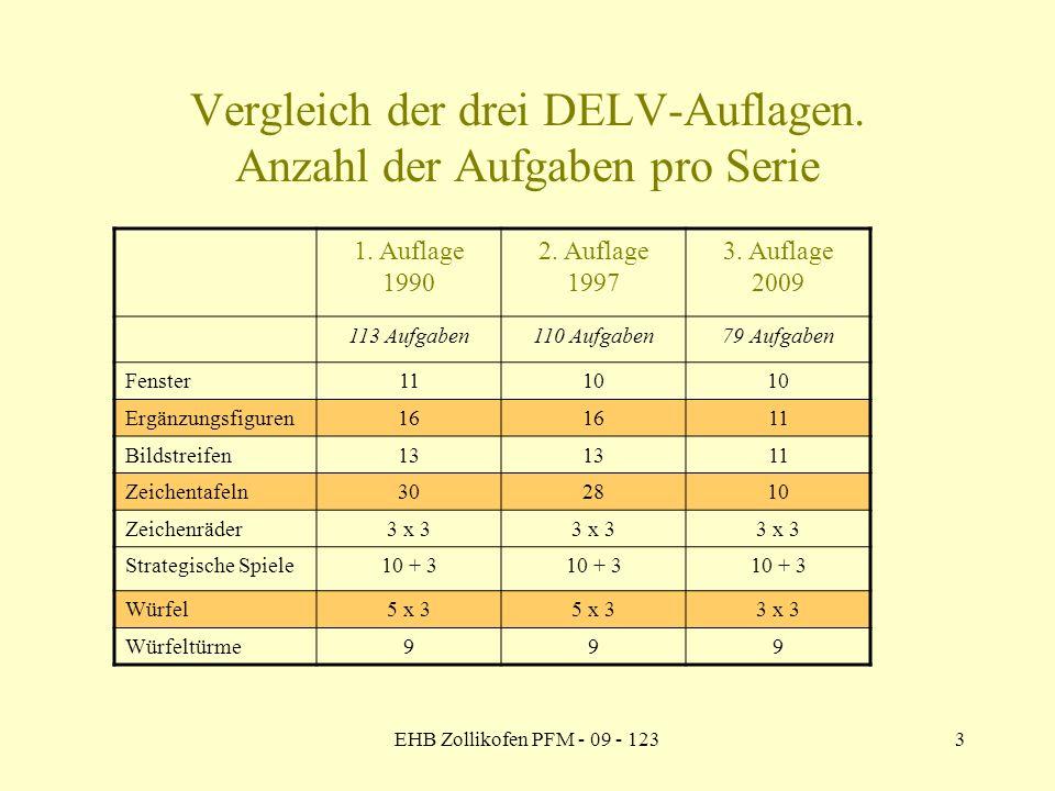 EHB Zollikofen PFM - 09 - 1233 Vergleich der drei DELV-Auflagen. Anzahl der Aufgaben pro Serie 1. Auflage 1990 2. Auflage 1997 3. Auflage 2009 113 Auf
